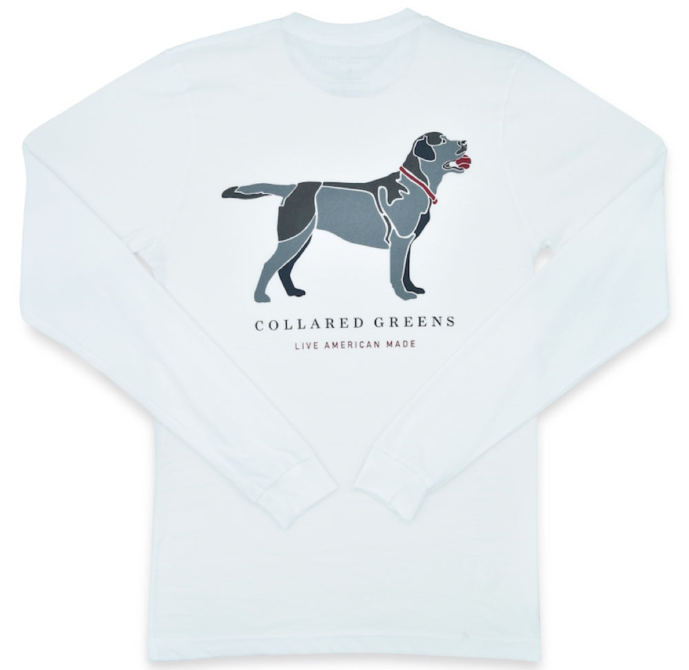 Black Lab: Long Sleeve T-Shirt - White