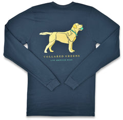 Yellow Lab: Long Sleeve T-Shirt - Steel Blue