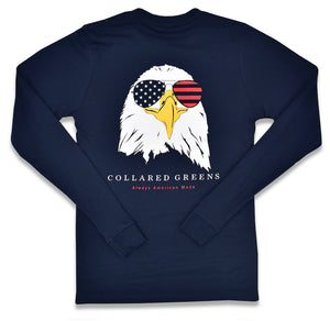 Bald Eagle: Long Sleeve T-Shirt - Navy