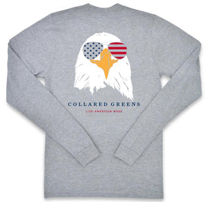 Bald Eagle: Long Sleeve T-Shirt - Gray