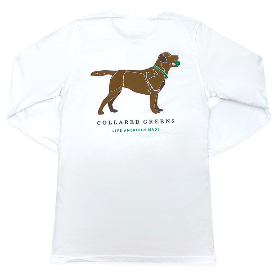 Good Boy: Long Sleeve T-Shirt - Chocolate Lab on White