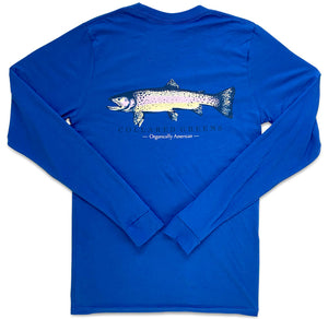 Singing Trout: Long Sleeve T-Shirt - Headwater Blue