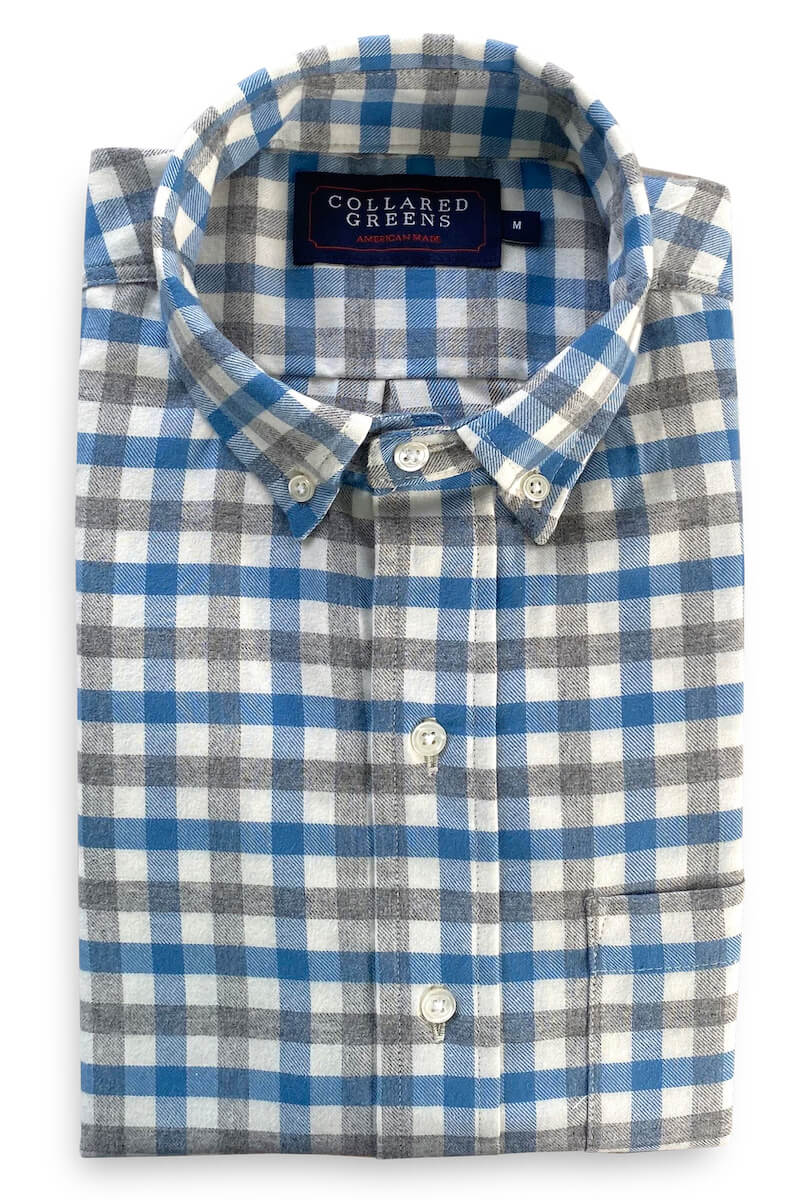 Dakota: Button Down Shirt - Blue/Gray (S & XXL)