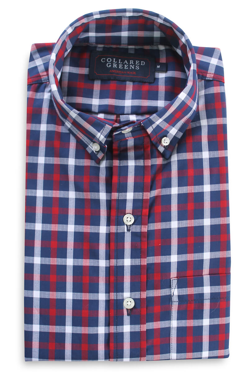 Arlington: Brookline Button Down Shirt - Red/Navy