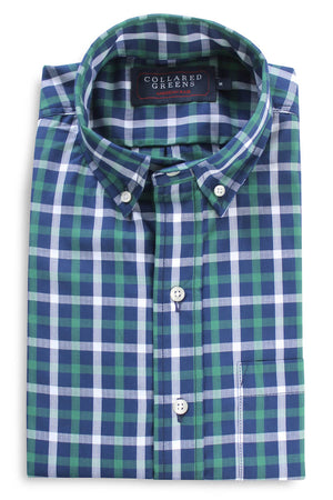 Arlington: Brookline Button Down Shirt - Green/Navy