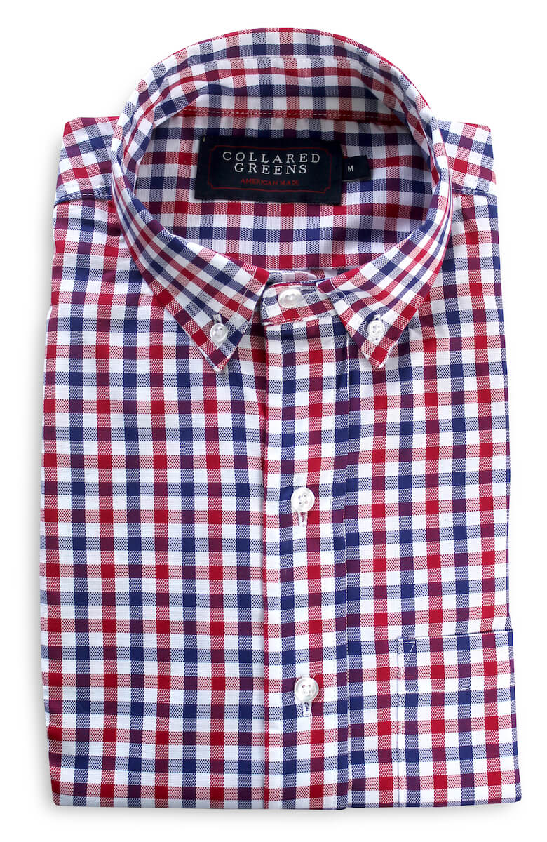 Hayden: Brookline Button Down Shirt - Red/Navy