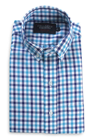 Hayden: Button Down Shirt - Turquoise/Navy