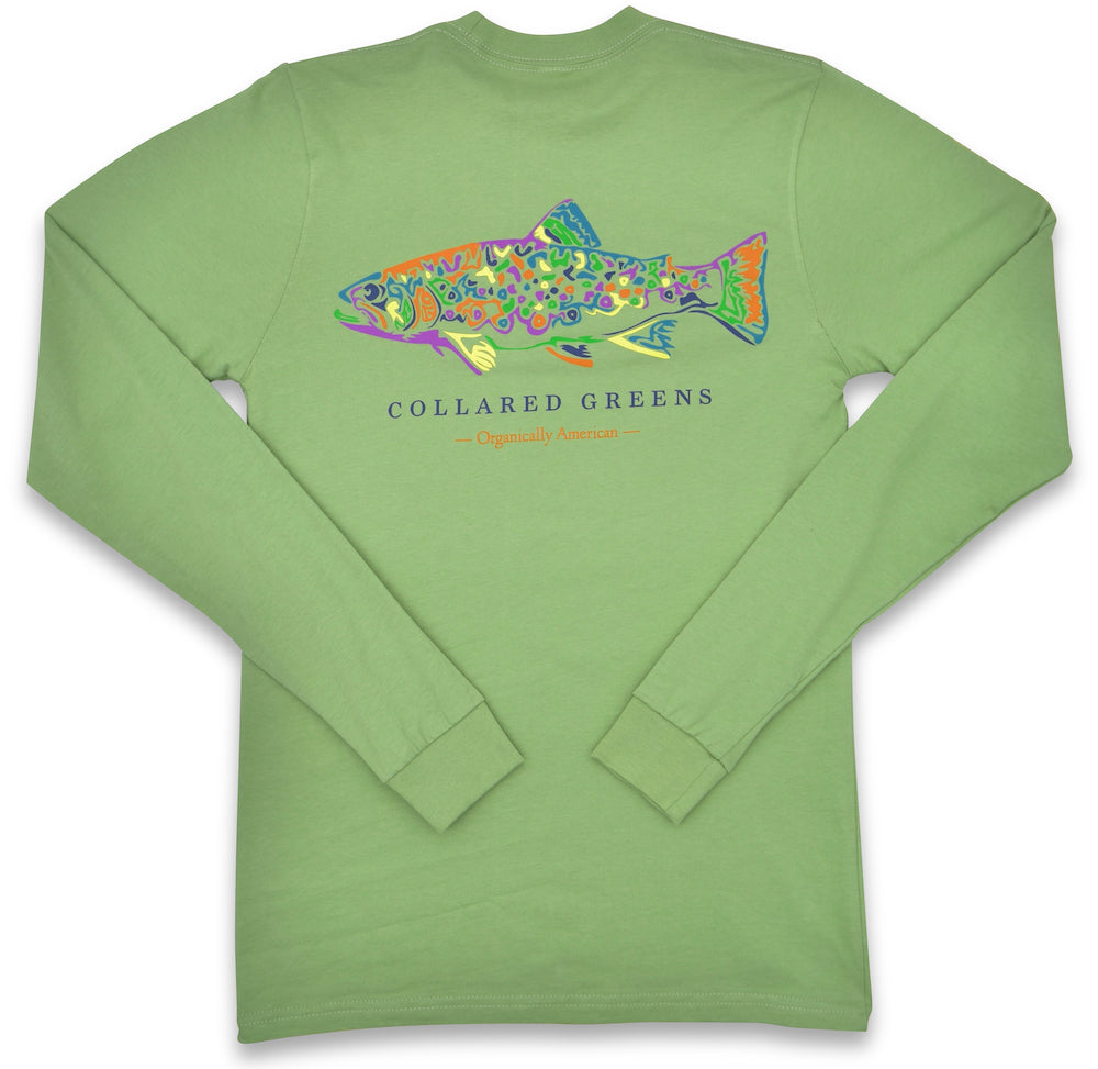 Rainbow Trout: Long Sleeve T-Shirt - Green