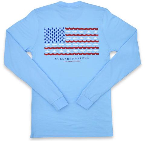 Trout Flag: Long Sleeve T-Shirt - Carolina