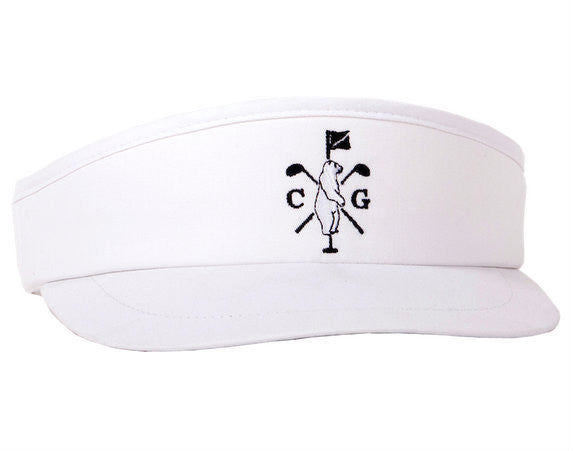 Collared Greens Long Ball Visor White