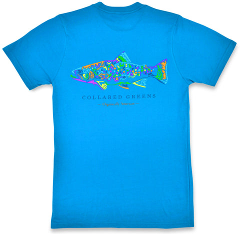 Rainbow Trout: Short Sleeve T-Shirt - Glacial Blue