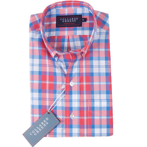 The Dover Button Down Shirt Red/White/Blue