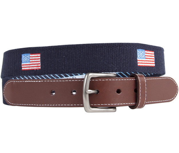 American Flag Embroidered Belt Belts - Collared Greens American Made