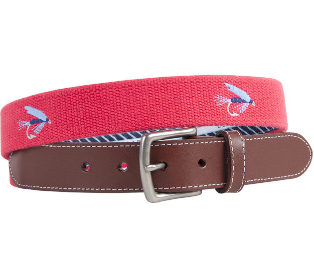 Salmon Fly Embroidered Belt Belts - Collared Greens American Made