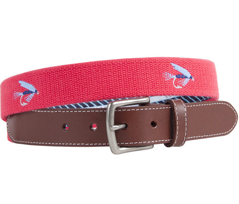 Salmon Fly Embroidered Belt