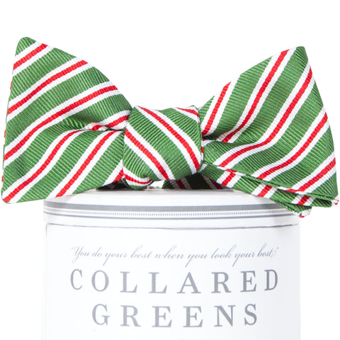 Holiday Stripes Bow Tie Green
