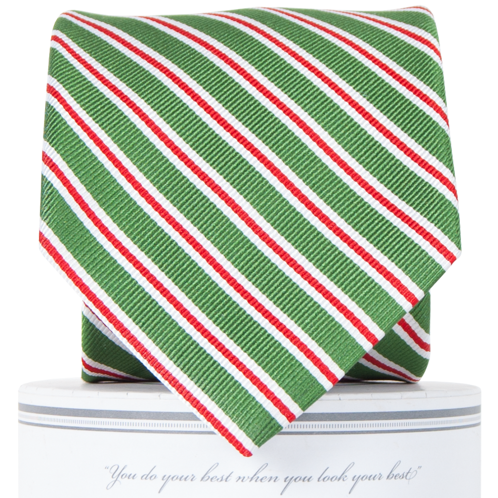 Holiday Stripes Tie Green
