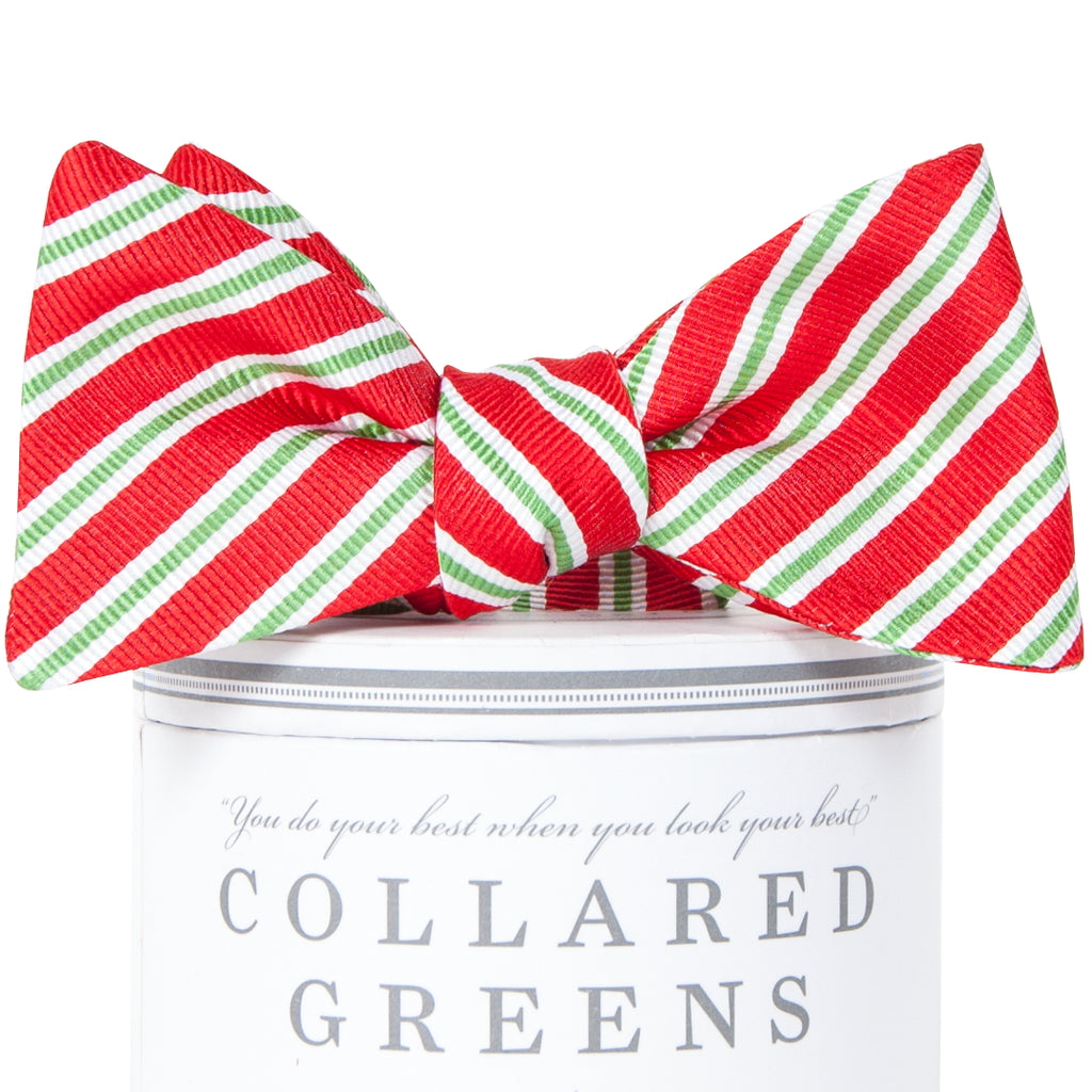 Holiday Stripes Bow Tie Red
