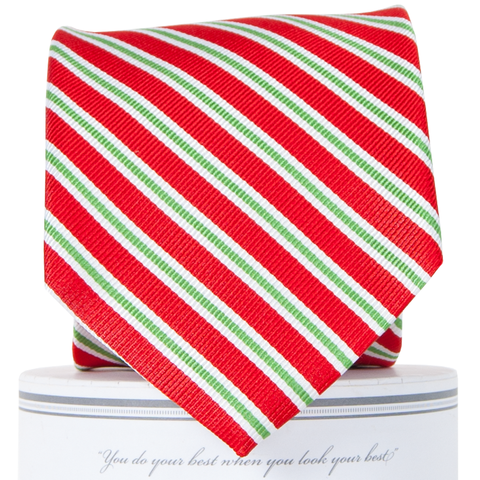 Holiday Stripes Tie Red