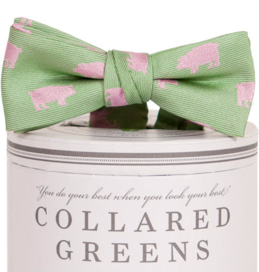 Boys Pigs Bow Tie Green Boys Bow Ties - Collared Greens American Made