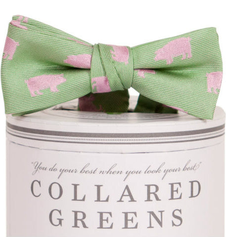 Boys Pigs Bow Tie Green