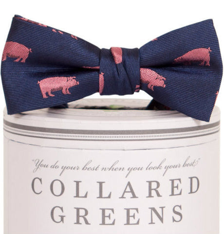 Boys Pigs Bow Tie Navy