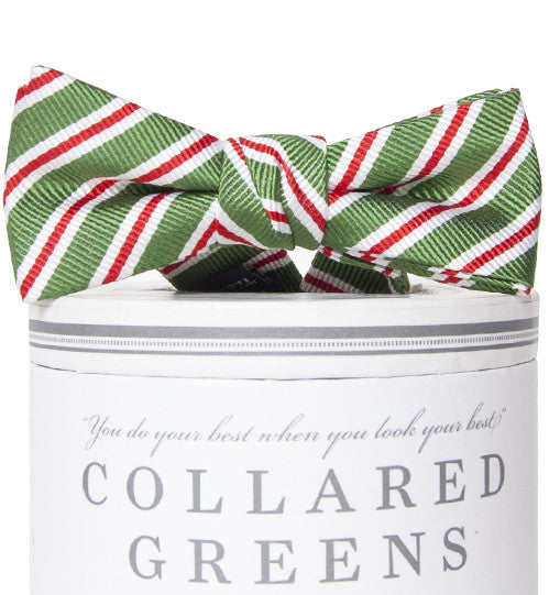 Boys Holiday Stripes Bow Tie Green Boys Bow Ties - Collared Greens American Made