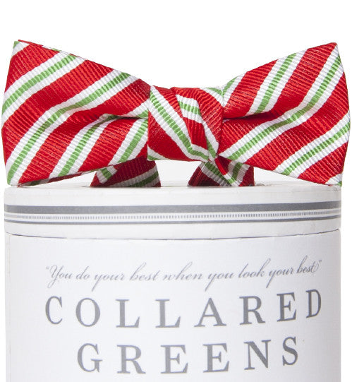 Boys Holiday Stripes Bow Tie Red Boys Bow Ties - Collared Greens American Made