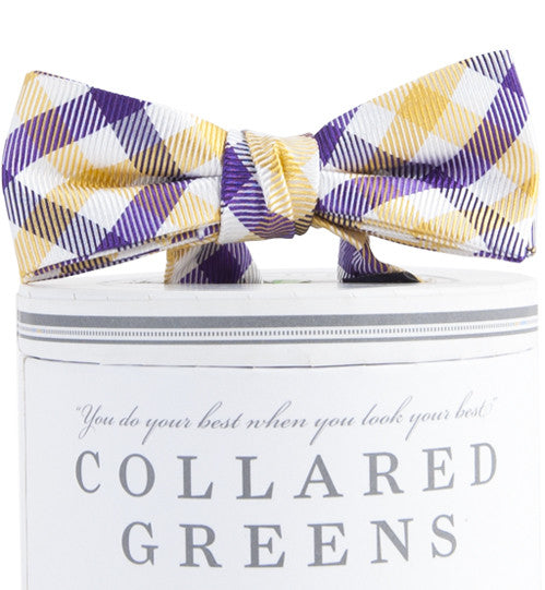 Boys Collegiate Quad Bow Tie Purple/Gold