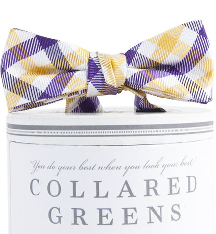 Boys Collegiate Quad Bow Tie Purple/Gold Boys Bow Ties - Collared Greens American Made