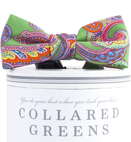 American Made Collared Greens Silk  Bow Tie Boys Wood Paisley Pattern Green