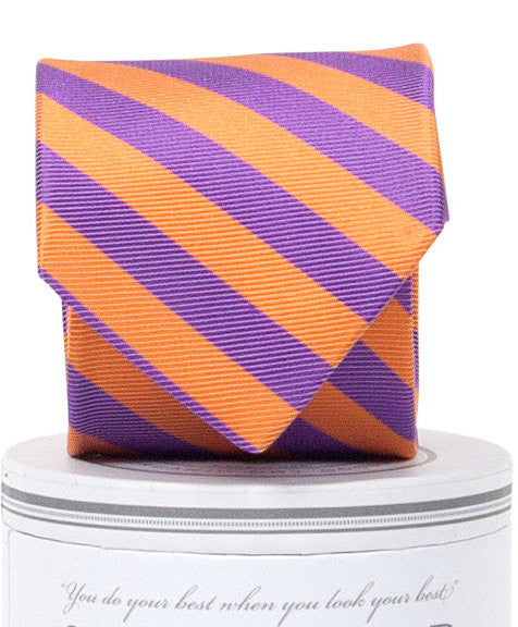 Boys Collegiate Tie Purple/Orange