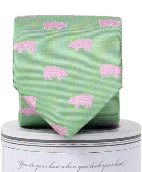 Boys Pigs Tie Green