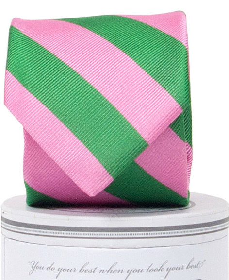 Boys Torrey Tie Green/Pink Boys Ties - Collared Greens American Made