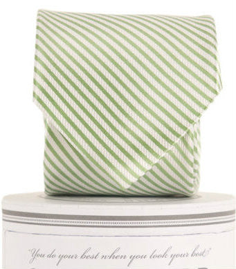 American Made Collared Greens Silk Tie Boys Signature Series Classic Stripe Green