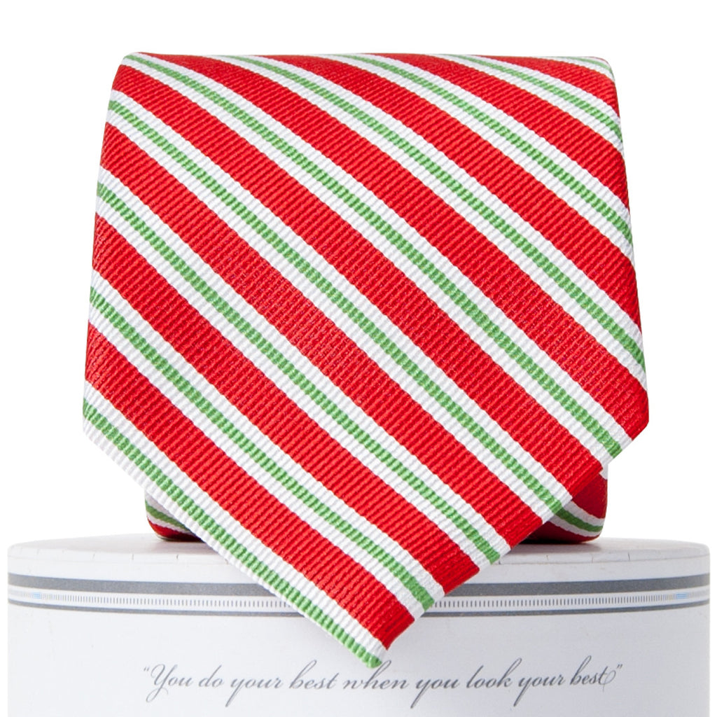 Boys Holiday Stripes Tie Red