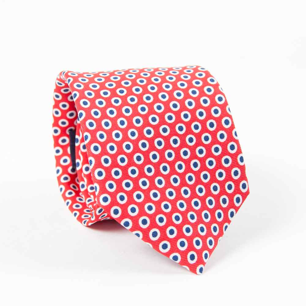 American Made Collared Greens Silk Boys Petty Tie Red Navy Polka Dot