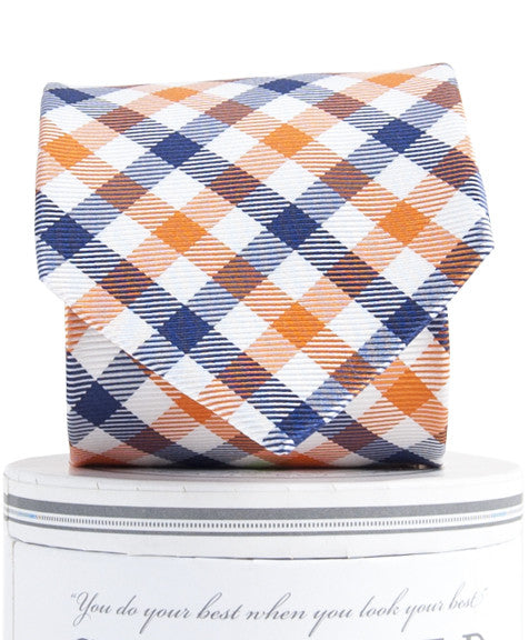 Boys Collegiate Quad Tie Orange/Navy