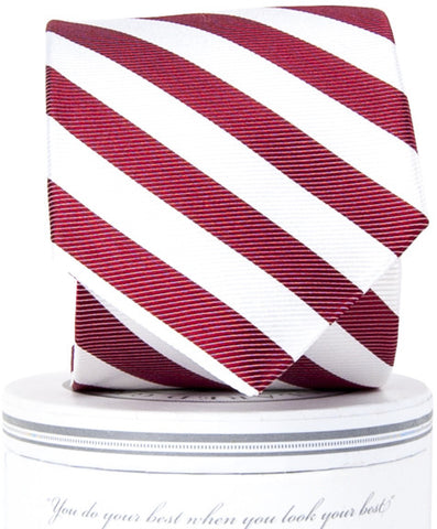 Boys Collegiate Tie Crimson/White