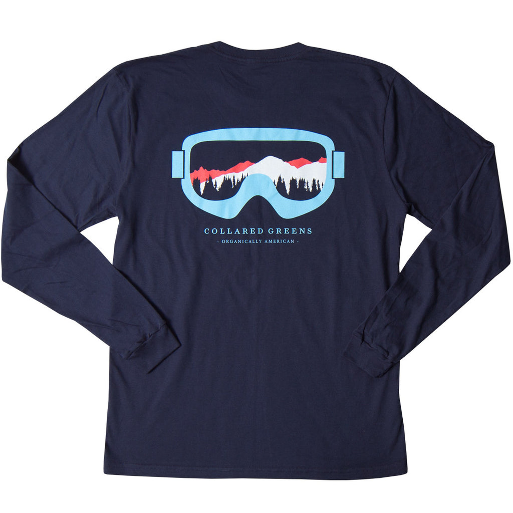 Collared Greens American Made Super Soft Long Sleeve T-Shirt 100% Cotton Season Pass Ski Goggles Navy