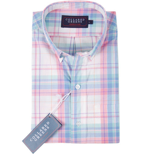 The Laurel Button Down Shirt Pink/Blue - Collared Greens