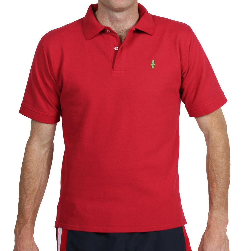 American Made Collared Greens Cotton Pique Homegrown Polo Red Golf Shirt