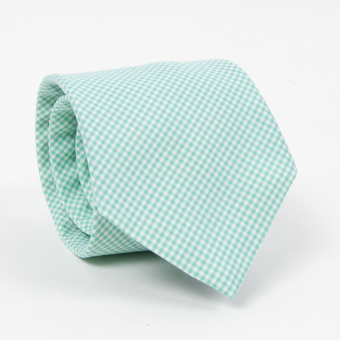 American Made Collared Greens Silk Barbaro Tie Classic Gingham Green