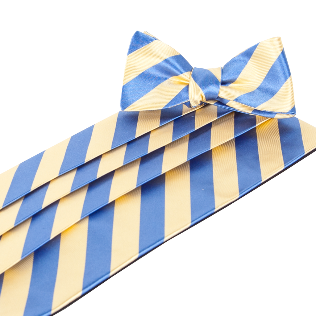 Makers Yellow Blue Cummerbund & Bow Tie Set