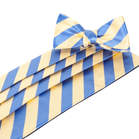 Makers Yellow/Blue Cummerbund & Bow Tie Set Cummerbund Sets - Collared Greens American Made