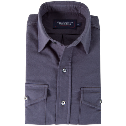 American Made Collared Greens Moleskin Button Down Shirt Tailored Fit Charcoal