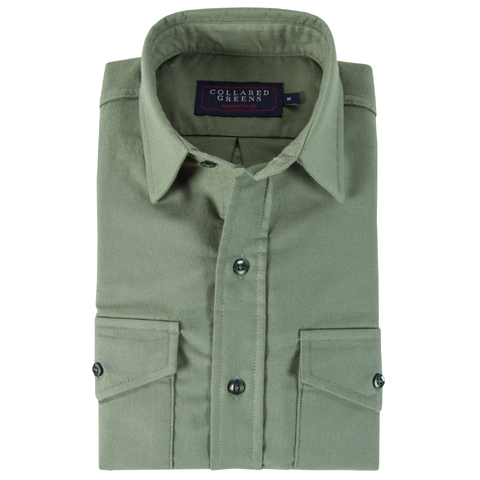 American Made Collared Greens Moleskin Button Down Shirt Tailored Fit Sage