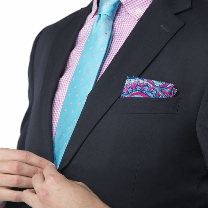 Palm Place: Pocket Square - Mid-Blue