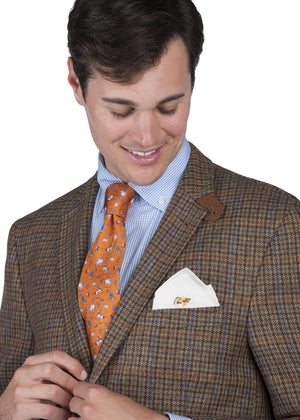 Bulldog Brawn: White Linen Pocket Square