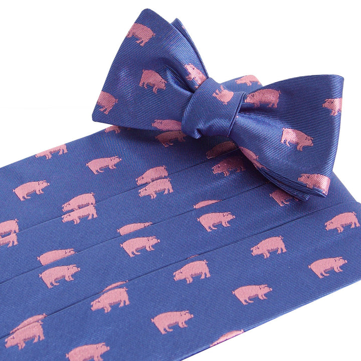 Pigs Royal Cummerbund and Bow Tie Set Cummerbund Sets - Collared Greens American Made